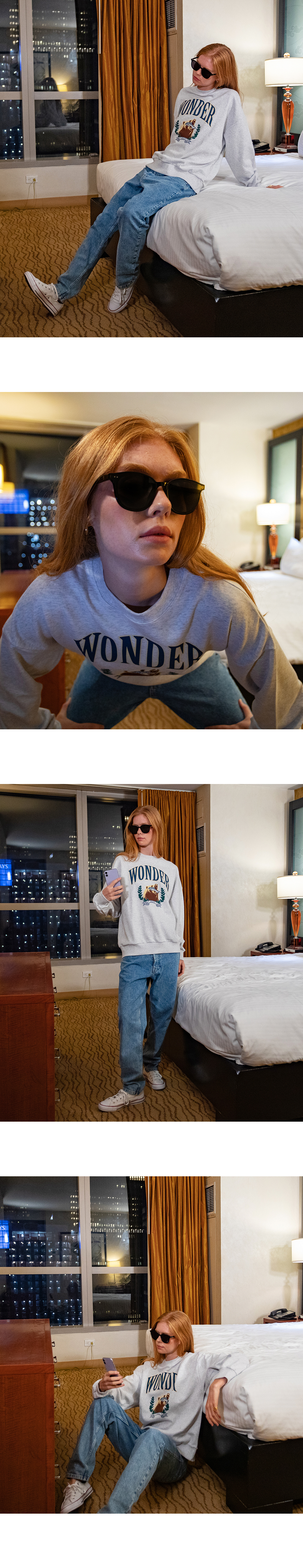 원더 비지터(WONDER VISITOR) Bear salmon sweat-shirt [Melange]